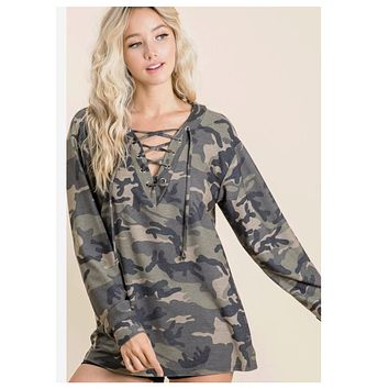 Camouflage Lace Up V Neck Top
