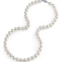 14K Gold Japanese Akoya White Cultured Pearl Necklace - AAA Quality, 18 Inch Princess Length