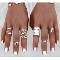 Bohemian 8pcs/set Silver Ring Set Retro Finger Rings Vintage Boho Ring