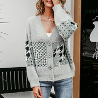 Vintage v neck women cardigan sweater Casual buttons geometric patchwork outwear sweaters female cardigans