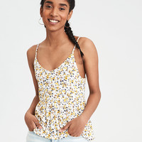 AE Floral Printed Babydoll Top, Yellow