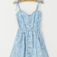 Vintage Cotton Hammock Dress with Floral Print in Light Blue