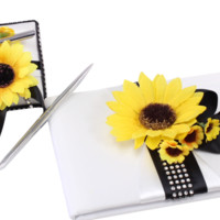 Wedding Guest Book and Pen set-Silver Black Sunflower