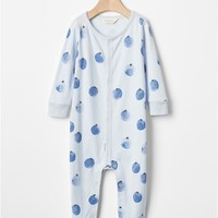 Organic blueberry footed one-piece