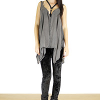 Crushed Velvet Leggings - Black
