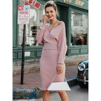 Simplee Off Shoulder Surplice Neck Sweater & Skirt Set