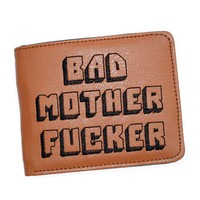 Pulp Fiction Jules Wallet with zipper Coin Pocket Bad Mother Letters Boys Wallet Card Holder Vintage Gift Purse