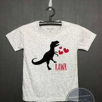 Dinosaur Shrit - Kids Birthday Shirt - Dinosaur Valentine's Day - Funny Birthday, Kid Shirt, Dino Valentines Shirt ,Flock printing