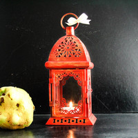 Halloween Lamp - Fall Wedding and Home Decor - Painted and Distressed Lantern - Metal Candle Holder