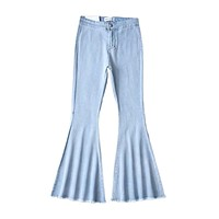 Elegant Women Casual Style Good Stretch Flare Jeans