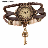 SUSENSTONE Brand Fashion watches for women Weave Leather Band Key Bracelet Clock Casual Ladies Watch Relogio Feminino 20#10