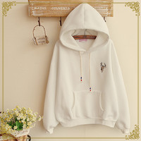 Japanese cute hooded fleece pullover