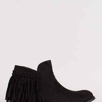 Suede Fringe Accent Ankle Booties