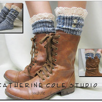 Nordic Lace  short boot  lace socks denim tweed colors combat or cowboy boot socks by Catherine Cole Studio ruffled lace SLX1BL Made  in usa