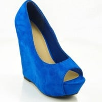 Blue 'Ocean' Peep Toe Wedge Shoes