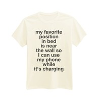 Andre's Designs Unisex Adult's My Favorite Position In Bed - Funny T-Shirt