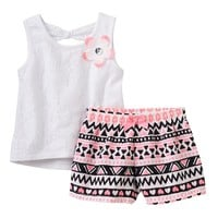 Little Lass Floral Tank Top & Tribal Shorts Set - Baby Girl, Size: