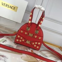 VERSACE Tribute Gianni mini size 18.5x16.5x7.5 DBGF309 red women Leather  Single-Shoulder Bag Crossbody leather Neverfull purse wallet Women red handbag shoulder bags tote Business package Best Quality