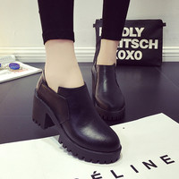 Korean Casual High Heel Simple Design Round-toe Shoes Boots [9432943498]