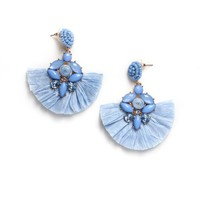 Raffia Fan Statement Earrings - Blue