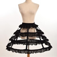 Women Cosplay Vintage Medieval Victorian Gothic Lolita Fishbone Petticoat Underskirt for Ball Gown