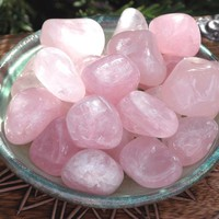 Rose Quartz Tumbled Gemstone . Med to Large Set of 2 . Compassion, Love, Well-Being, Positive Energy, Peace, Banishing Fear, Clearing