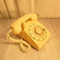 Tan Rotary Telephone. Stromberg-Carlson. Plastic Body with Coiled Handset Cord. Clear Rotary Plastic Rotary Dial. Vintage Phone