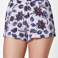 Kendall and Kylie Scalloped Floral Print Soft Shorts at PacSun.com