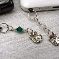 Owl Personalized Phone Charm, Dust Plug or Lanyard, with Hand Stamped Initial and Birthstone Bead