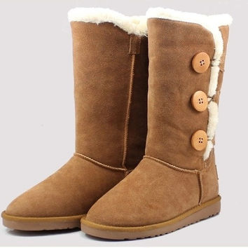 2015 New Women lady girl australia high genuine Leather Snow warm winter not Ugglis triply button Boots Shoes motorcycle boots = 1946978820