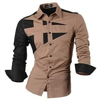 2017 Spring Autumn Features Shirts Men Casual Jeans Shirt New Arrival Long Sleeve Casual Slim Fit Male Shirts 8397