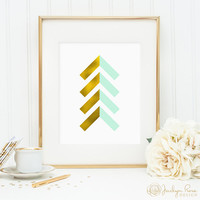 Gold foil and mint chevron arrows, printable wall art decor, faux gold foil art, arrow art for office, bedroom decor, digital download JPG
