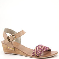 Diba True Shoes Plat Form 2 Inch Wedge Heel Woven Leather Sandals