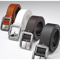 2014 New Version Men Belt High Quality Genuine Cow Skin Leather Button Metal Buckle 4 Colors Gentalman's All-match