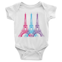 Eiffel Tower Infant short sleeve Onesuit