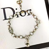 Dior Popular Women Pearl Letter Diamond Bracelet Hand Catenary Accessories Jewelry