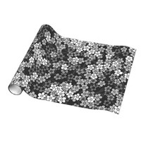 Black, white, grey retro floral pattern gift wrapping paper
