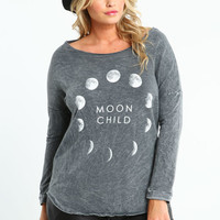 PLUS SIZE MOON CHILD SHREDDED TOP