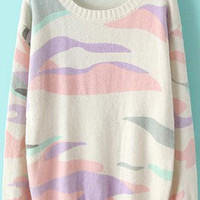 Multicolor Camouflage Print Long Sleeve Knit Sweater