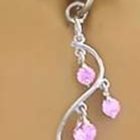 Fake Belly Navel Non Clip on Piercing Pretty Pink gem Unique Vine Dangle Ring