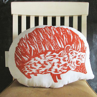 Plush Hedgehog Throw Pillow.  Hand Block Printed. Made to Order. 16 x 16 inch shaped. Choose ANY Color.