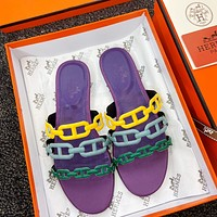 Hermes new slippers rubber outsole pig nose chain buckle sandals Purple