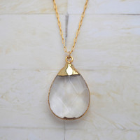 Gold Necklace Crystal Pendant Necklace Gold Pendant Necklace Layered Necklace
