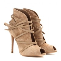 Suede open-toe ankle boots