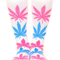 WHITE NEON PLANTLIFE CREW SOCK
