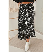 Daisy For You Ruffle Hem Midi Skirt (Black/ Multi)