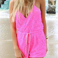 Pink Floral Lace Drawstring Romper