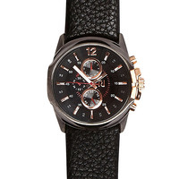 River Island MensBlack two dial cracked strap watch