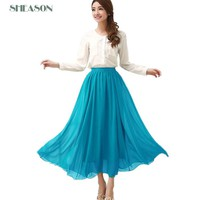 8 color Fashion Women Skirts Candy color chiffon pleated long skirts  Elastic Waist Maxi Skirt for lady  plus size TB319