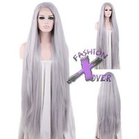 """18""""-39"""" Long Straight Silver Grey Lace Front Synthetic Wig"""